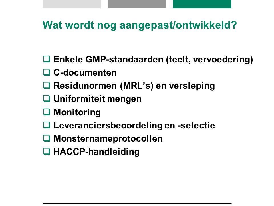 Wat wordt nog aangepast/ontwikkeld?  Enkele GMP-standaarden (teelt, vervoedering)  C-documenten  Residunormen (MRL's) en versleping  Uniformiteit