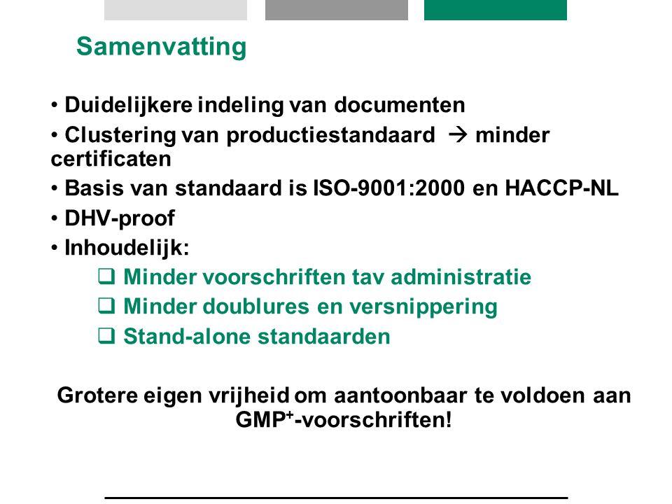 Samenvatting Duidelijkere indeling van documenten Clustering van productiestandaard  minder certificaten Basis van standaard is ISO-9001:2000 en HACC
