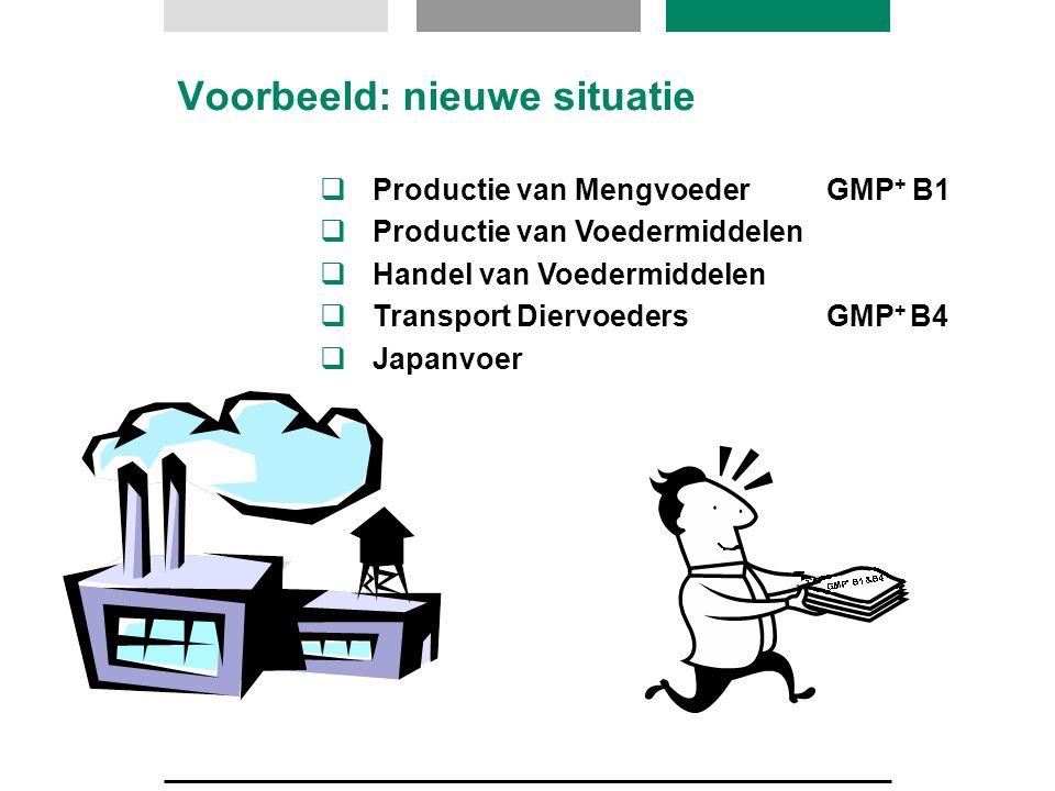 Voorbeeld: nieuwe situatie  Productie van Mengvoeder  Productie van Voedermiddelen  Handel van Voedermiddelen  Transport Diervoeders  Japanvoer G