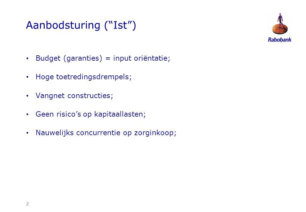2 Aanbodsturing ( Ist ) Budget (garanties) = input oriëntatie; Hoge toetredingsdrempels; Vangnet constructies; Geen risico's op kapitaallasten; Nauwelijks concurrentie op zorginkoop;