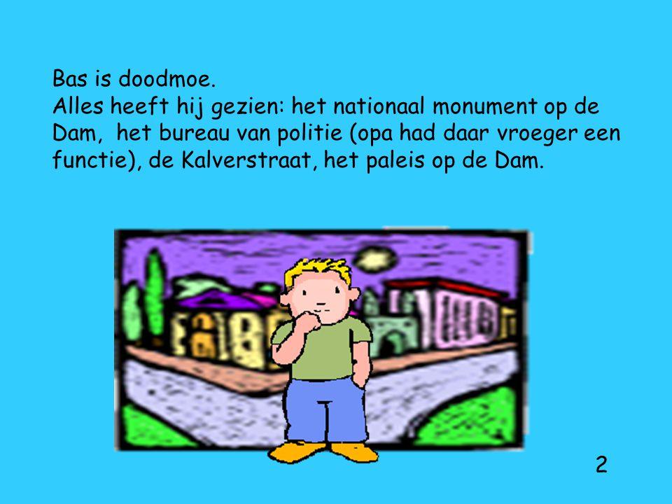 Bas is doodmoe. Alles heeft hij gezien: het nationaal monument op de Dam, het bureau van politie (opa had daar vroeger een functie), de Kalverstraat,
