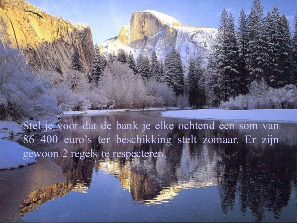 Stel je voor dat de bank je elke ochtend een som van 86 400 euro's ter beschikking stelt zomaar. Er zijn gewoon 2 regels te respecteren.