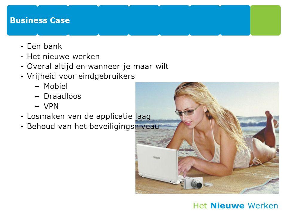 Business Case -Een bank -Het nieuwe werken -Overal altijd en wanneer je maar wilt -Vrijheid voor eindgebruikers –Mobiel –Draadloos –VPN -Losmaken van
