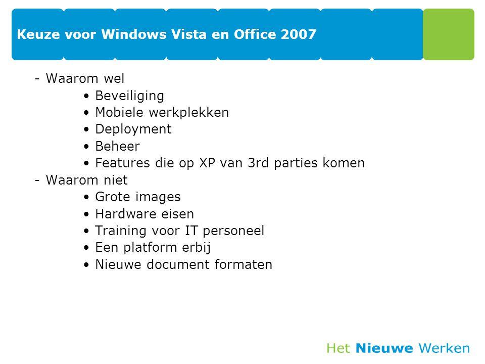 Keuze voor Windows Vista en Office 2007 -Waarom wel Beveiliging Mobiele werkplekken Deployment Beheer Features die op XP van 3rd parties komen -Waarom