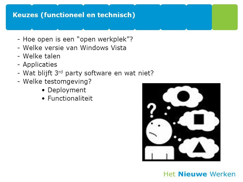 """Keuzes (functioneel en technisch) -Hoe open is een """"open werkplek""""? -Welke versie van Windows Vista -Welke talen -Applicaties -Wat blijft 3 rd party s"""