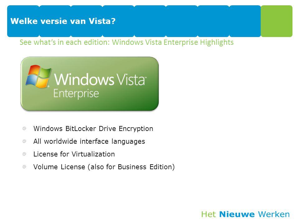 Welke versie van Vista? Windows BitLocker Drive Encryption All worldwide interface languages License for Virtualization Volume License (also for Busin