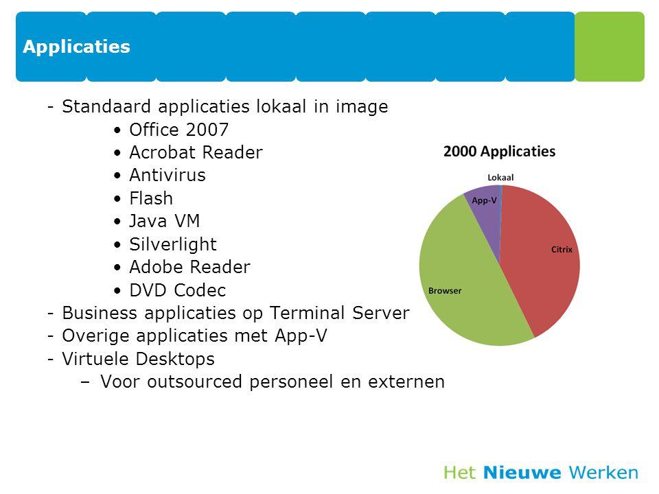 Applicaties -Standaard applicaties lokaal in image Office 2007 Acrobat Reader Antivirus Flash Java VM Silverlight Adobe Reader DVD Codec -Business app