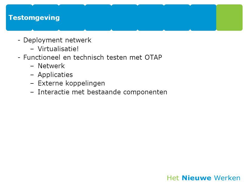 Testomgeving -Deployment netwerk –Virtualisatie! -Functioneel en technisch testen met OTAP –Netwerk –Applicaties –Externe koppelingen –Interactie met