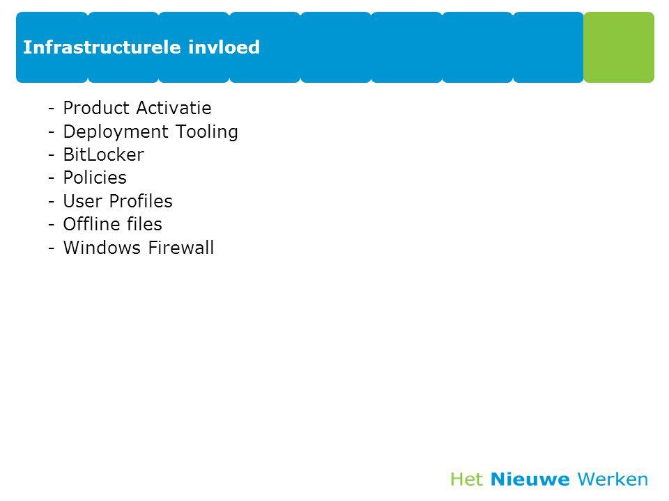 Infrastructurele invloed -Product Activatie -Deployment Tooling -BitLocker -Policies -User Profiles -Offline files -Windows Firewall
