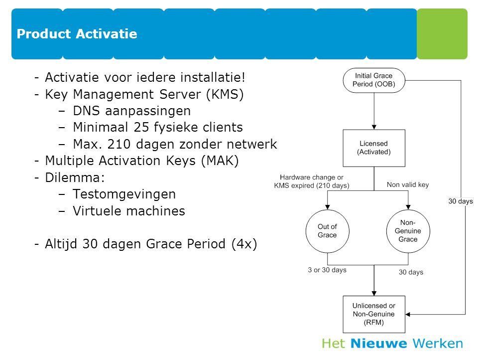 Product Activatie -Activatie voor iedere installatie! -Key Management Server (KMS) –DNS aanpassingen –Minimaal 25 fysieke clients –Max. 210 dagen zond
