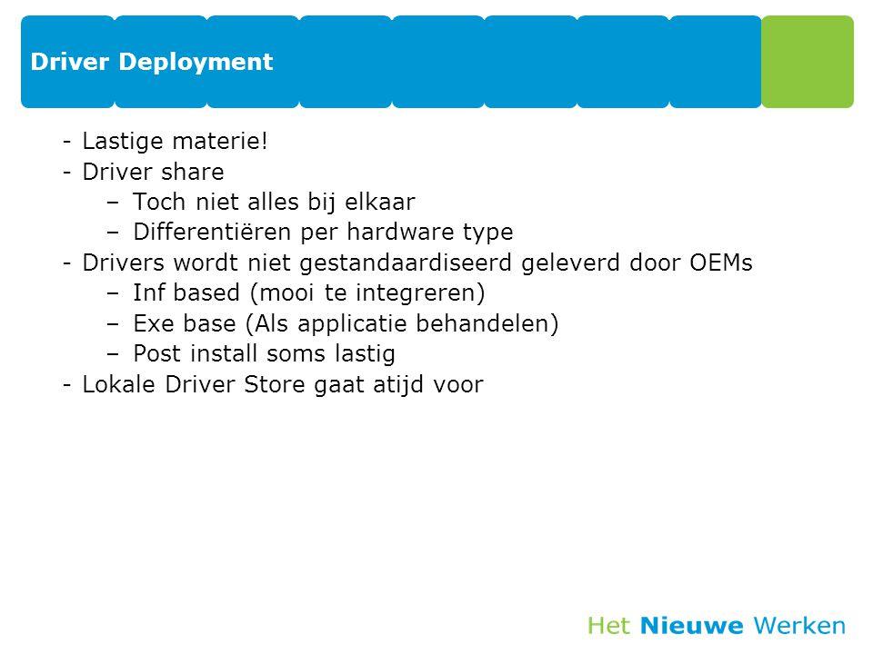 Driver Deployment -Lastige materie! -Driver share –Toch niet alles bij elkaar –Differentiëren per hardware type -Drivers wordt niet gestandaardiseerd