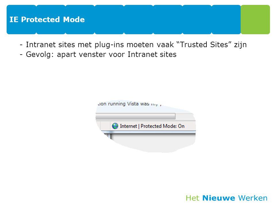"""IE Protected Mode -Intranet sites met plug-ins moeten vaak """"Trusted Sites"""" zijn -Gevolg: apart venster voor Intranet sites 41"""