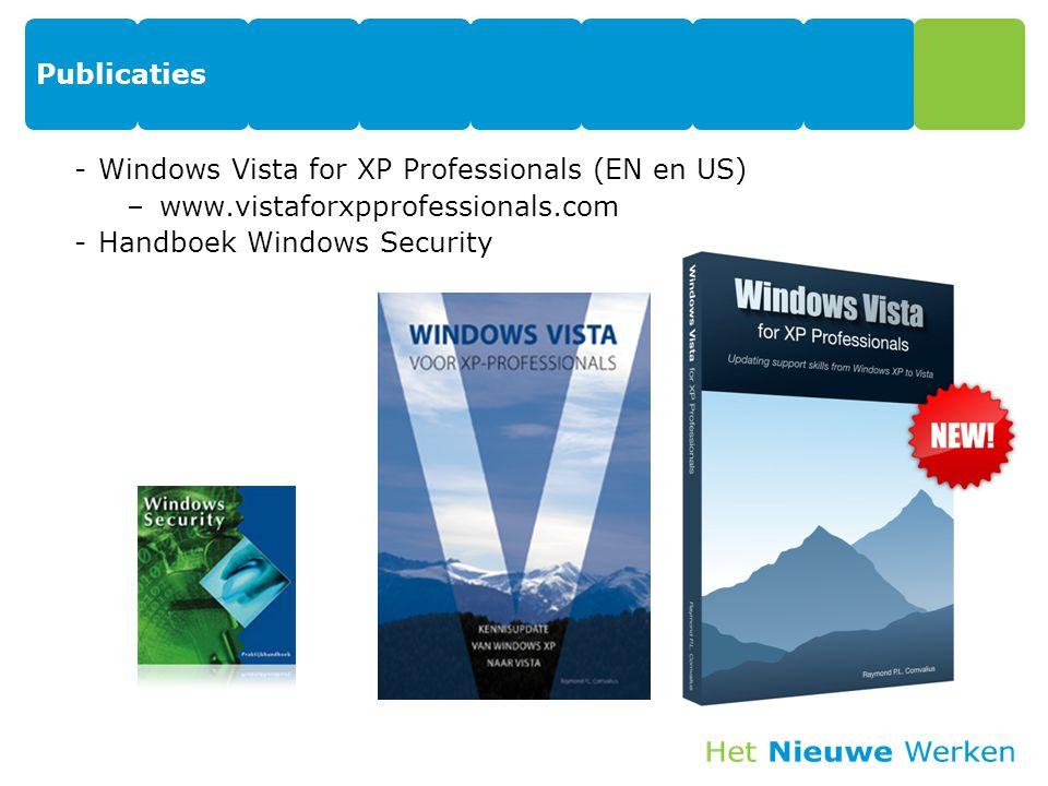 Publicaties -Windows Vista for XP Professionals (EN en US) –www.vistaforxpprofessionals.com -Handboek Windows Security