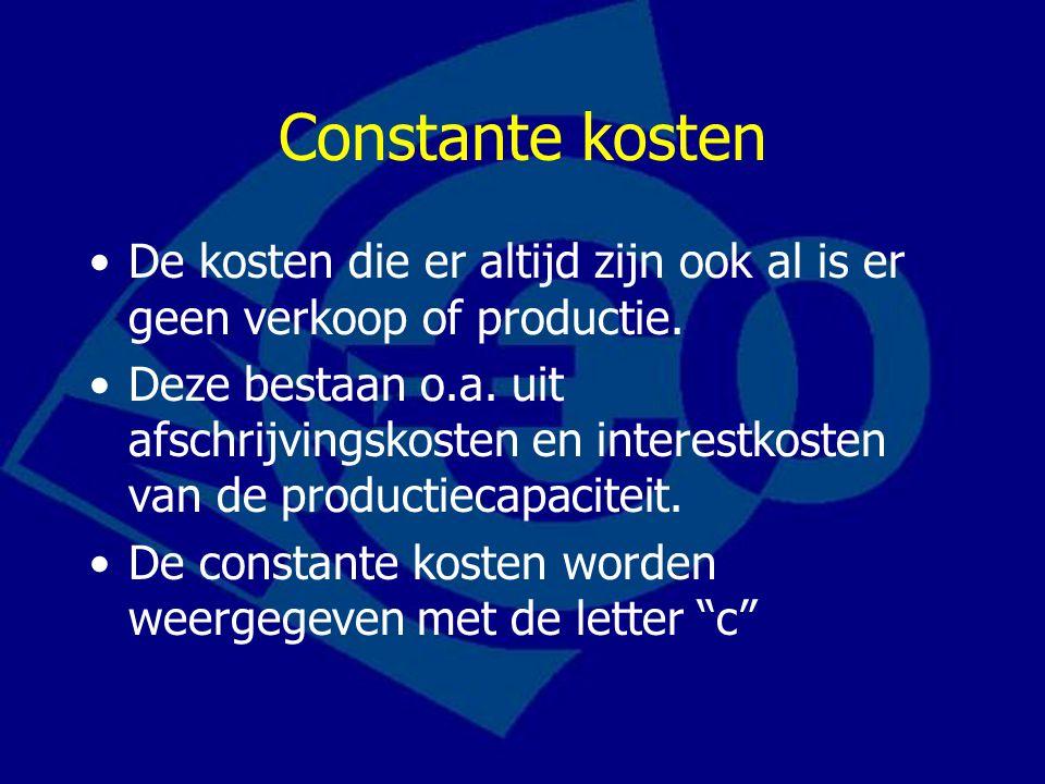 Constante kosten De kosten die er altijd zijn ook al is er geen verkoop of productie.