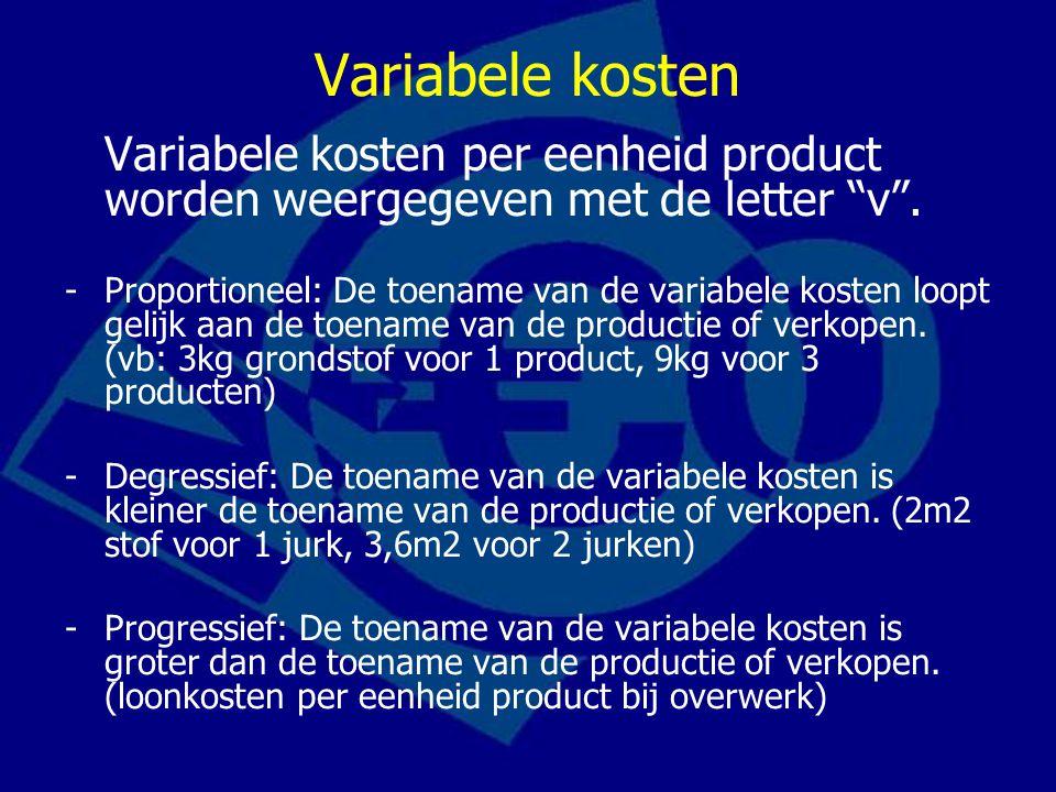 Bedrijfskosten in formulevorm TK = vq + c waarbij –TK: totale kosten –v:variabele kosten per eenheid product –q:aantal eenheden product –c:constante kosten TK / q = kosten per eenheid product –als q stijgt dan dalen kosten per eenheid product!