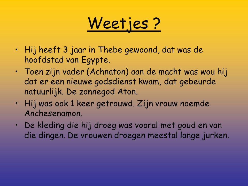Weetjes ? Hij heeft 3 jaar in Thebe gewoond, dat was de hoofdstad van Egypte. Toen zijn vader (Achnaton) aan de macht was wou hij dat er een nieuwe go