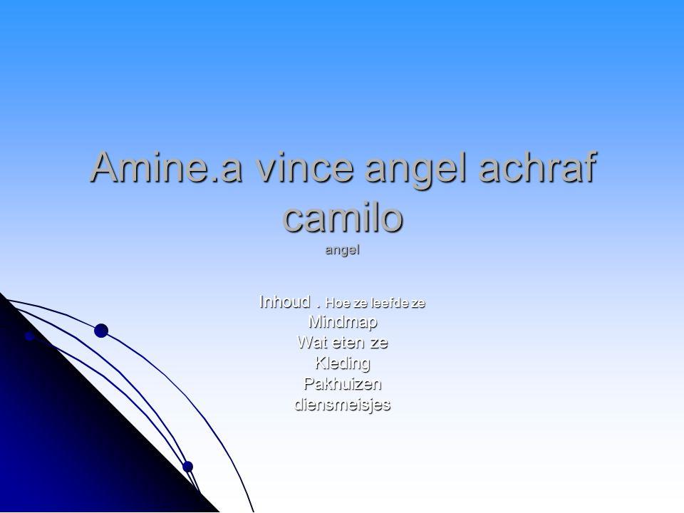 Amine.a vince angel achraf camilo angel Inhoud. Hoe ze leefde ze Mindmap Wat eten ze KledingPakhuizendiensmeisjes