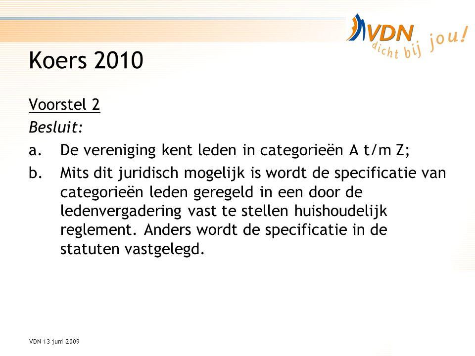 VDN 13 juni 2009 Koers 2010 Voorstel 2 Besluit: a.De vereniging kent leden in categorieën A t/m Z; b.Mits dit juridisch mogelijk is wordt de specificatie van categorieën leden geregeld in een door de ledenvergadering vast te stellen huishoudelijk reglement.