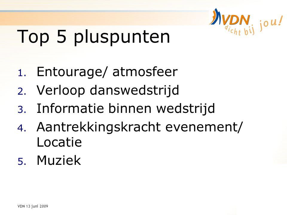 VDN 13 juni 2009 Top 5 pluspunten 1. Entourage/ atmosfeer 2.