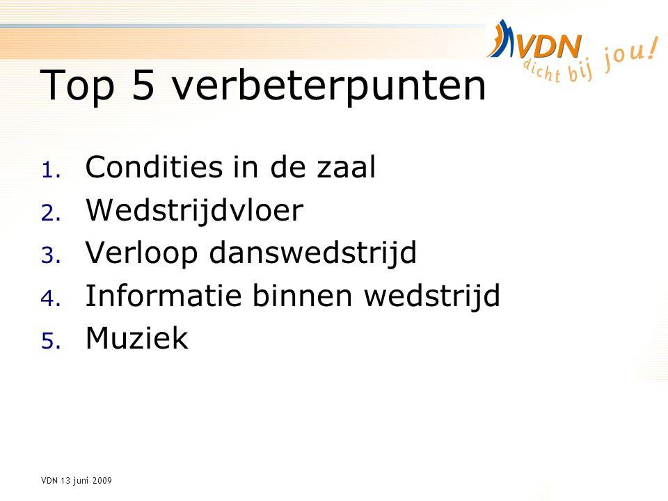 VDN 13 juni 2009 Top 5 verbeterpunten 1. Condities in de zaal 2.