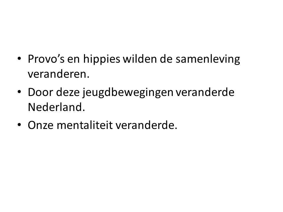 Provo's en hippies wilden de samenleving veranderen.