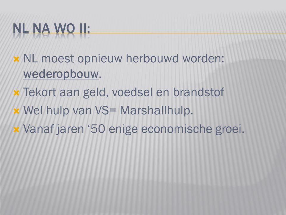  NL moest opnieuw herbouwd worden: wederopbouw.  Tekort aan geld, voedsel en brandstof  Wel hulp van VS= Marshallhulp.  Vanaf jaren '50 enige econ