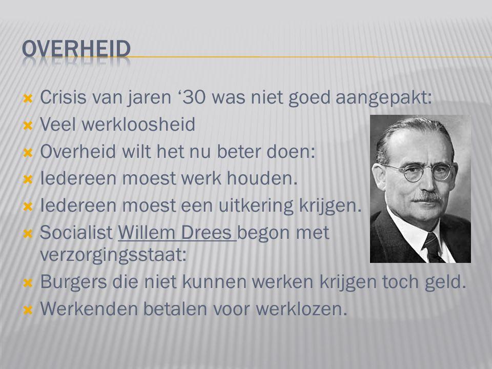  Crisis van jaren '30 was niet goed aangepakt:  Veel werkloosheid  Overheid wilt het nu beter doen:  Iedereen moest werk houden.  Iedereen moest