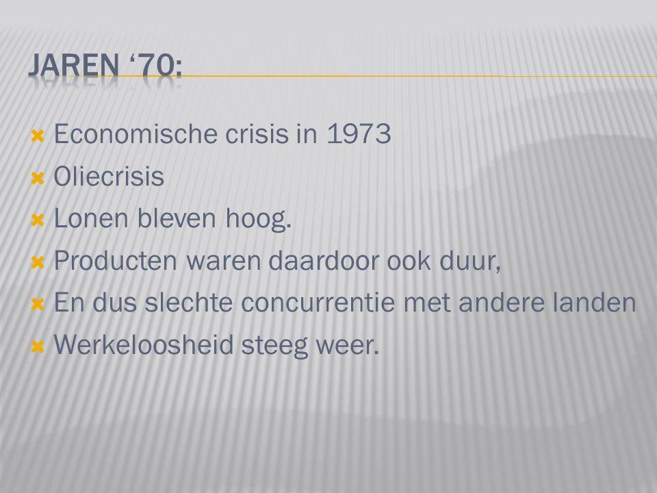  Economische crisis in 1973  Oliecrisis  Lonen bleven hoog.  Producten waren daardoor ook duur,  En dus slechte concurrentie met andere landen 