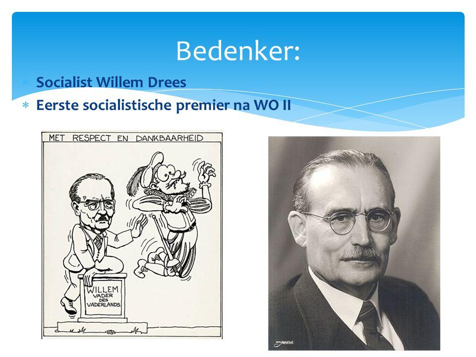  Socialist Willem Drees  Eerste socialistische premier na WO II Bedenker: