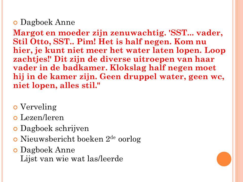 Dagboek Anne Margot en moeder zijn zenuwachtig. 'SST... vader, Stil Otto, SST.. Pim! Het is half negen. Kom nu hier, je kunt niet meer het water laten