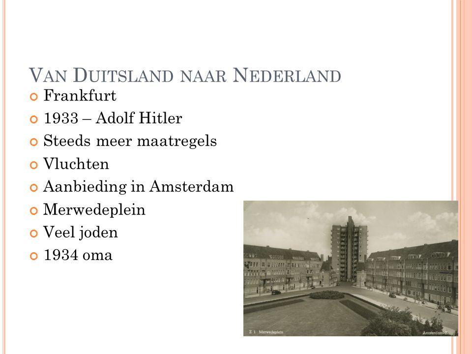 V AN D UITSLAND NAAR N EDERLAND Frankfurt 1933 – Adolf Hitler Steeds meer maatregels Vluchten Aanbieding in Amsterdam Merwedeplein Veel joden 1934 oma