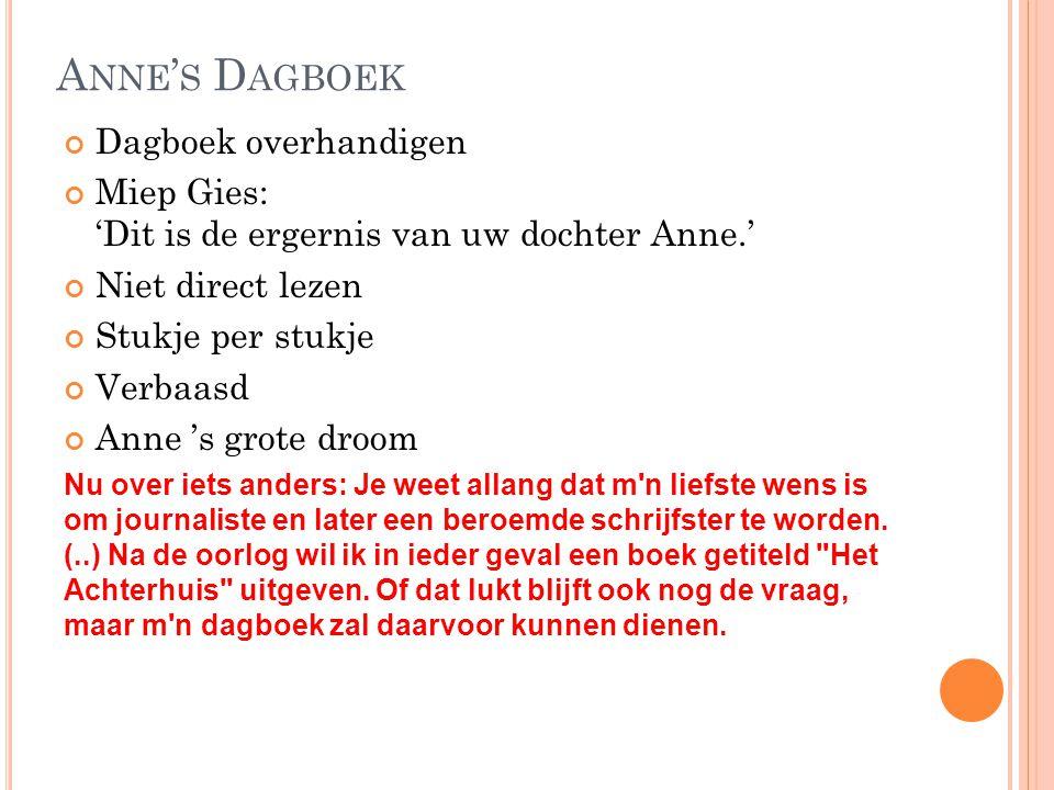 A NNE ' S D AGBOEK Dagboek overhandigen Miep Gies: 'Dit is de ergernis van uw dochter Anne.' Niet direct lezen Stukje per stukje Verbaasd Anne 's grot