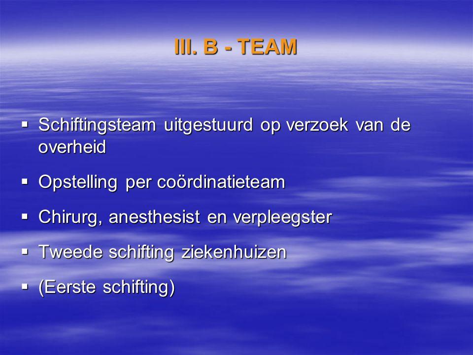 III. B - TEAM  Schiftingsteam uitgestuurd op verzoek van de overheid  Opstelling per coördinatieteam  Chirurg, anesthesist en verpleegster  Tweede