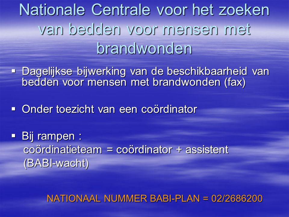 Nationale Centrale voor het zoeken van bedden voor mensen met brandwonden  Dagelijkse bijwerking van de beschikbaarheid van bedden voor mensen met brandwonden (fax)  Onder toezicht van een coördinator  Bij rampen : coördinatieteam = coördinator + assistent coördinatieteam = coördinator + assistent (BABI-wacht) (BABI-wacht) NATIONAAL NUMMER BABI-PLAN = 02/2686200