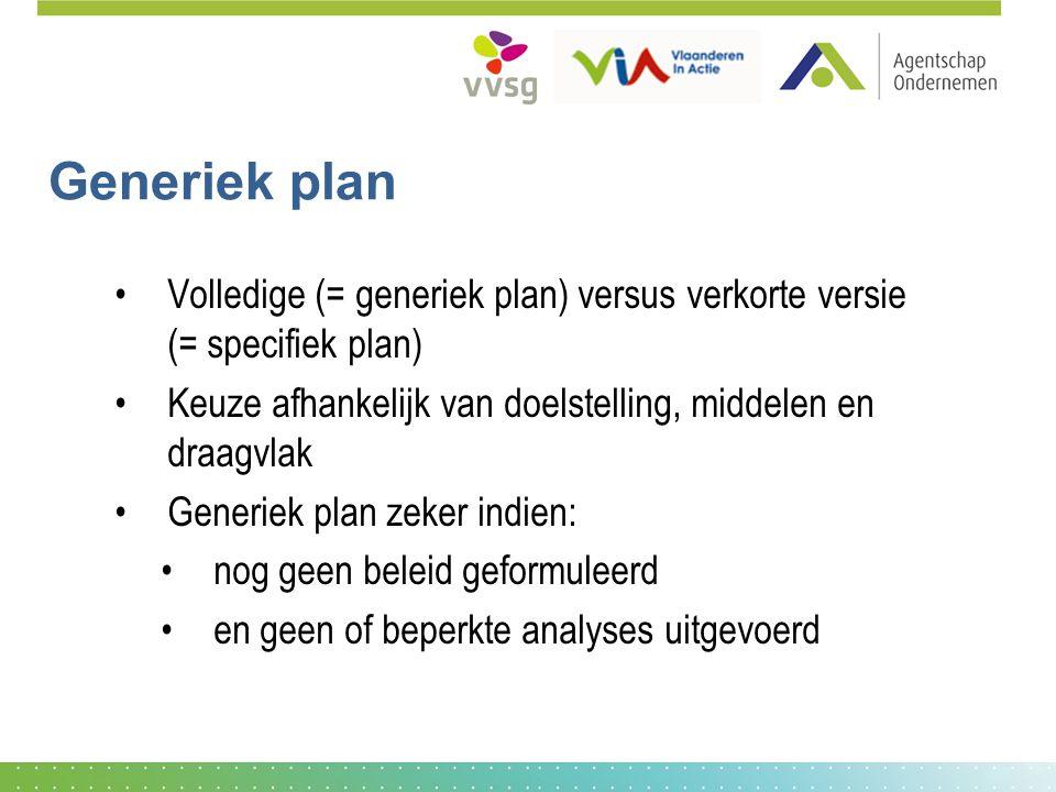 Generiek plan Volledige (= generiek plan) versus verkorte versie (= specifiek plan) Keuze afhankelijk van doelstelling, middelen en draagvlak Generiek