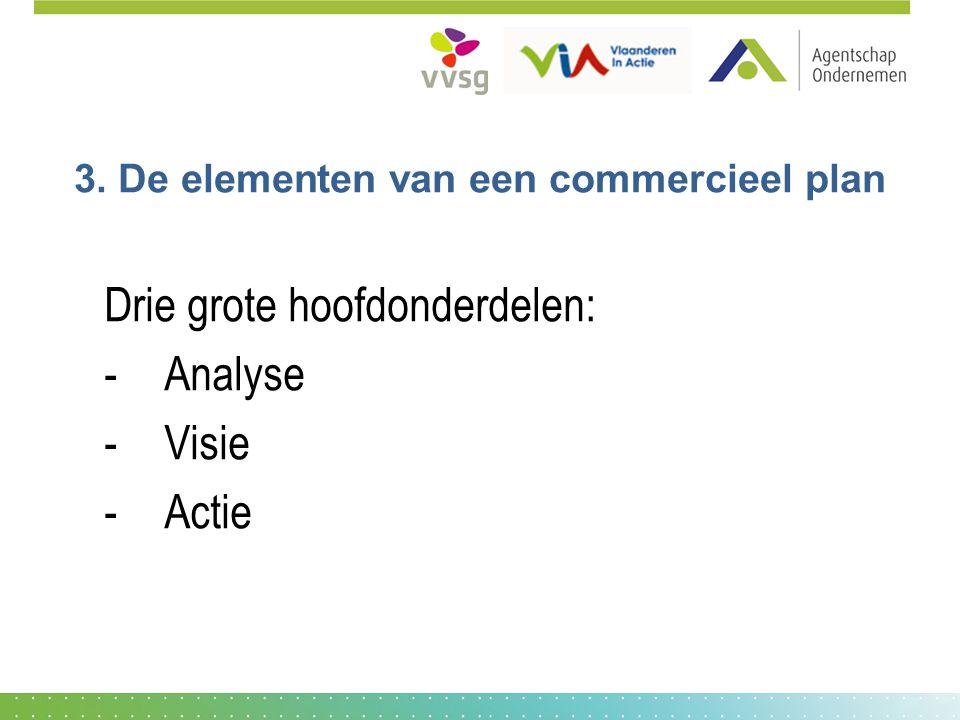 3. De elementen van een commercieel plan Drie grote hoofdonderdelen: -Analyse -Visie -Actie