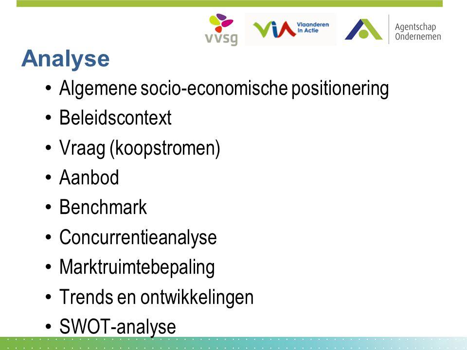 Analyse Algemene socio-economische positionering Beleidscontext Vraag (koopstromen) Aanbod Benchmark Concurrentieanalyse Marktruimtebepaling Trends en