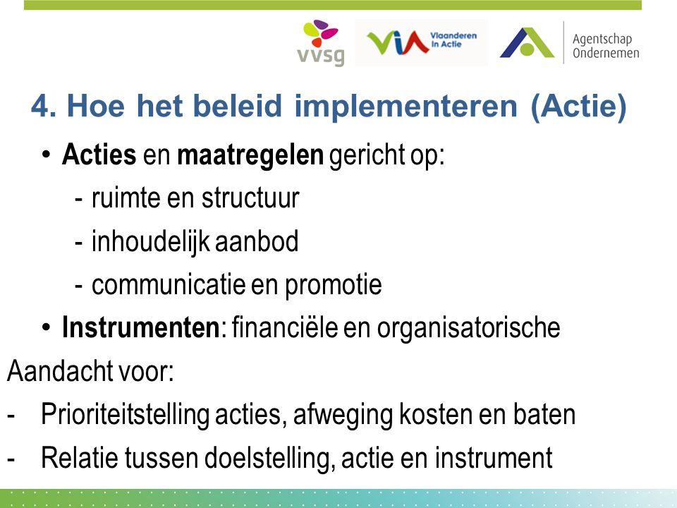4. Hoe het beleid implementeren (Actie) Acties en maatregelen gericht op: -ruimte en structuur -inhoudelijk aanbod -communicatie en promotie Instrumen