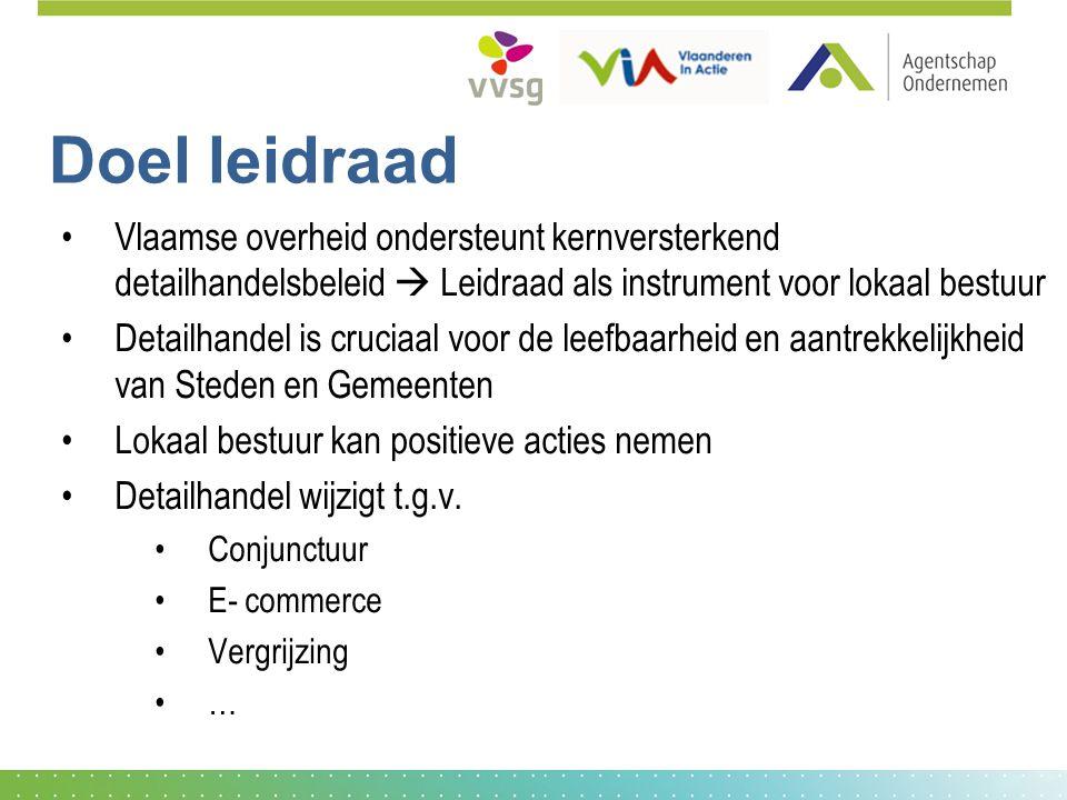 Doel leidraad Vlaamse overheid ondersteunt kernversterkend detailhandelsbeleid  Leidraad als instrument voor lokaal bestuur Detailhandel is cruciaal