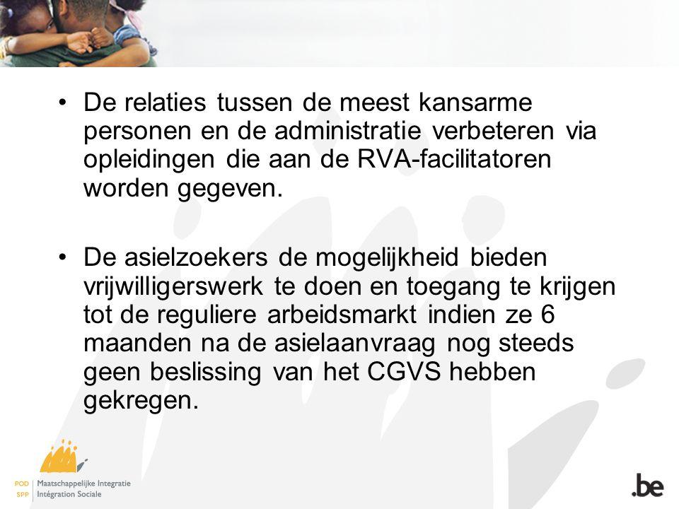 De relaties tussen de meest kansarme personen en de administratie verbeteren via opleidingen die aan de RVA-facilitatoren worden gegeven. De asielzoek
