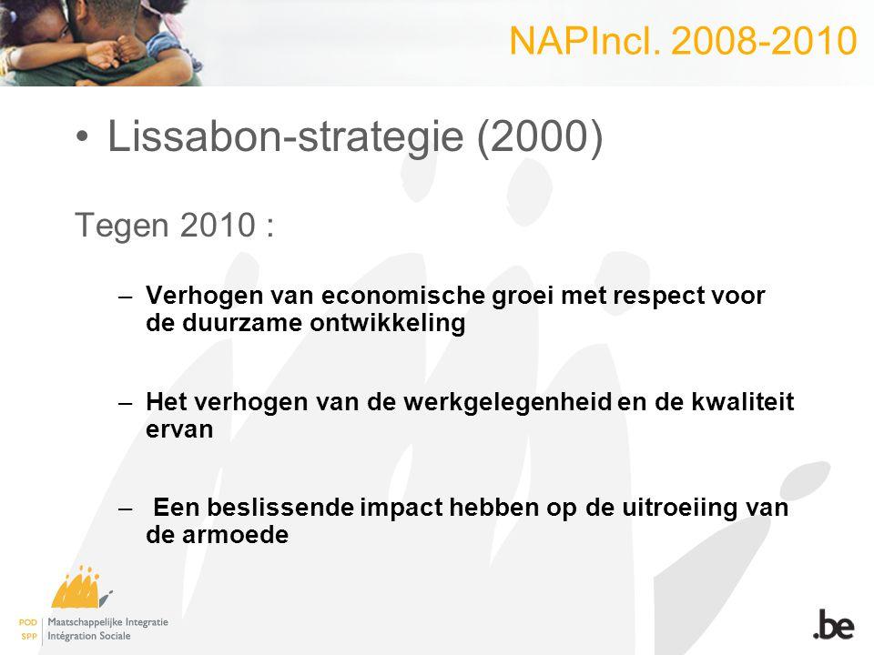 NAPIncl. 2008-2010 Lissabon-strategie (2000) Tegen 2010 : –Verhogen van economische groei met respect voor de duurzame ontwikkeling –Het verhogen van