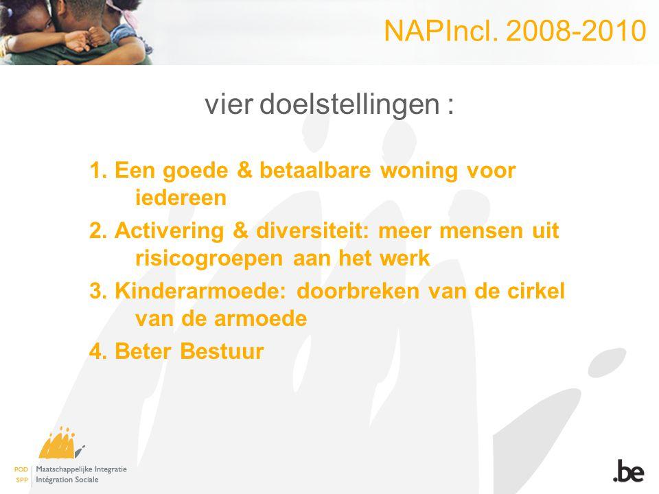 NAPIncl. 2008-2010 vier doelstellingen : 1. Een goede & betaalbare woning voor iedereen 2. Activering & diversiteit: meer mensen uit risicogroepen aan