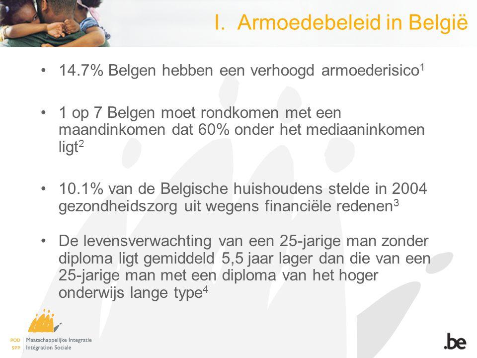 I. Armoedebeleid in België 14.7% Belgen hebben een verhoogd armoederisico 1 1 op 7 Belgen moet rondkomen met een maandinkomen dat 60% onder het mediaa