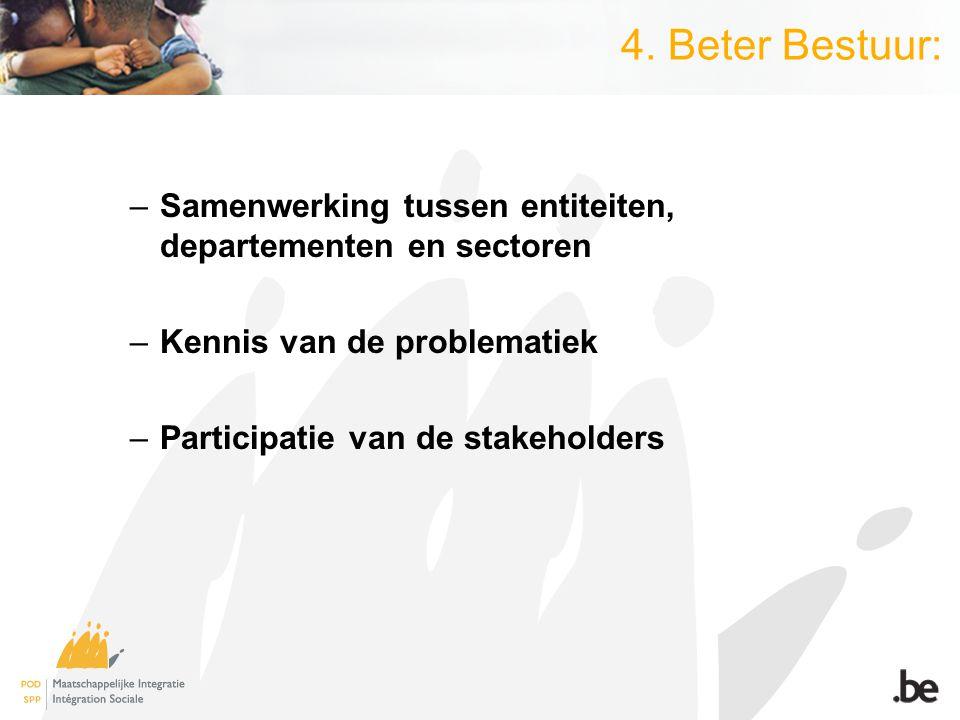 4. Beter Bestuur: –Samenwerking tussen entiteiten, departementen en sectoren –Kennis van de problematiek –Participatie van de stakeholders