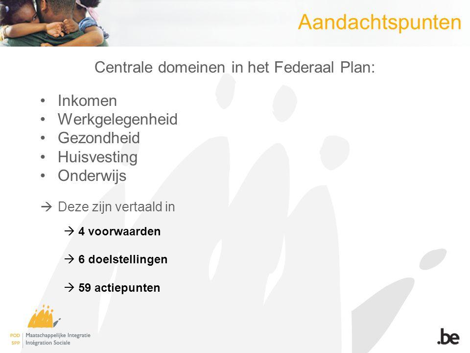 Aandachtspunten Centrale domeinen in het Federaal Plan: Inkomen Werkgelegenheid Gezondheid Huisvesting Onderwijs  Deze zijn vertaald in  4 voorwaard