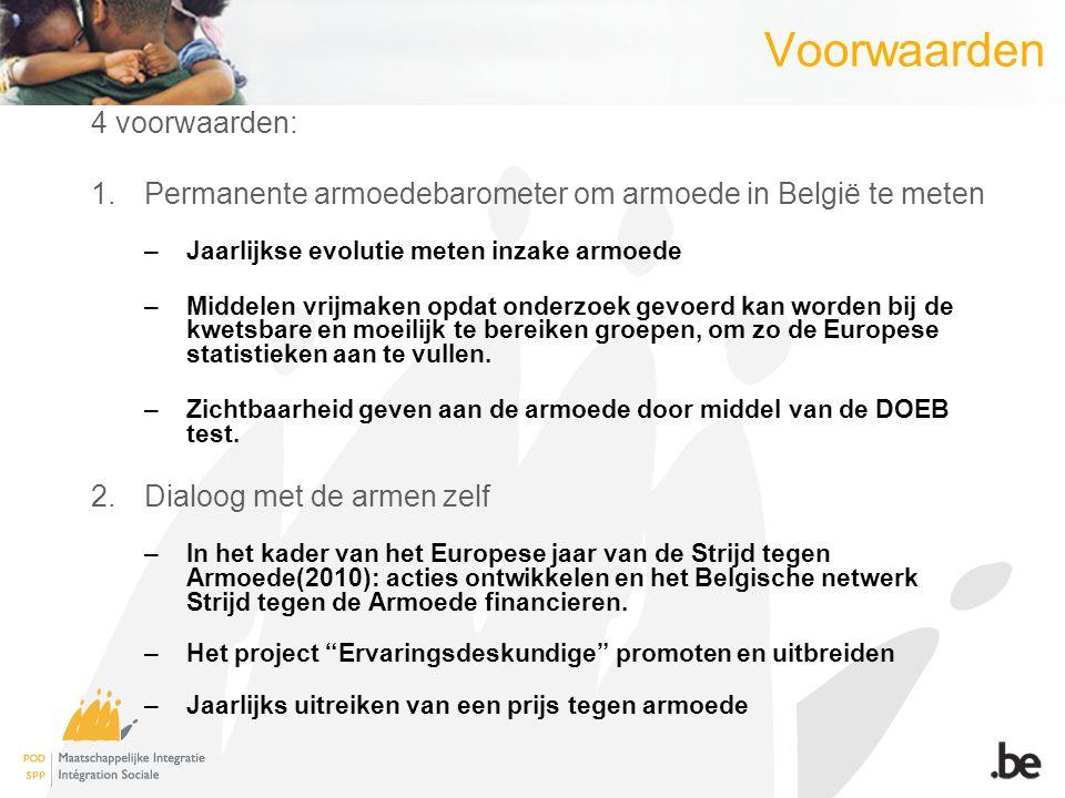Voorwaarden 4 voorwaarden: 1.Permanente armoedebarometer om armoede in België te meten –Jaarlijkse evolutie meten inzake armoede –Middelen vrijmaken o
