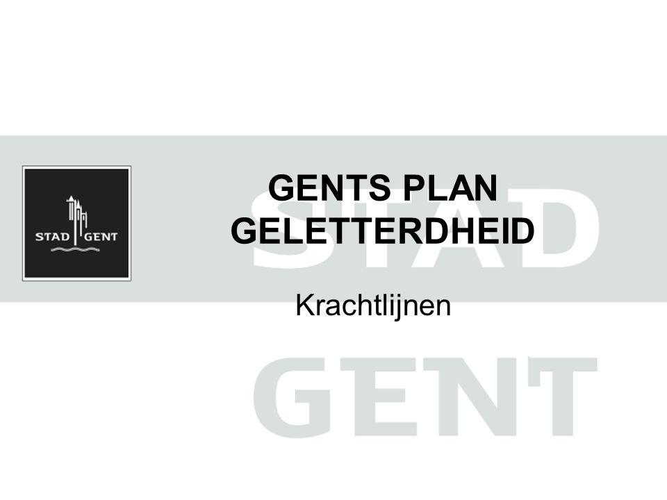 Inleiding Naar schatting 20 % van de Gentse bevolking is laaggeletterd (> IALS niv 1) Beleidsmatig kader Historiek van het GPG