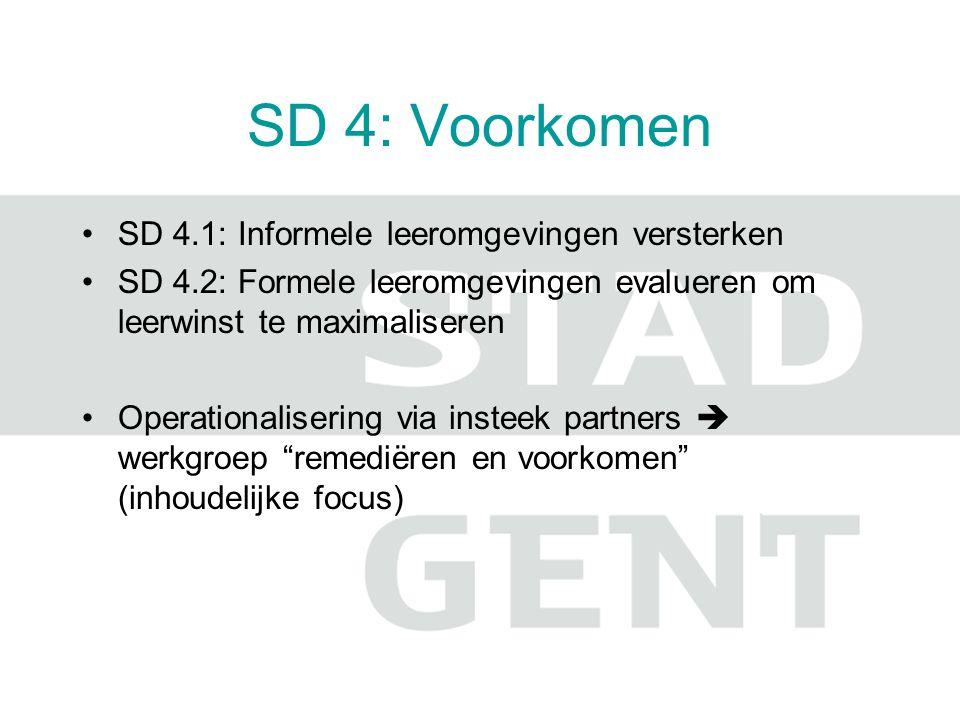 SD 4: Voorkomen SD 4.1: Informele leeromgevingen versterken SD 4.2: Formele leeromgevingen evalueren om leerwinst te maximaliseren Operationalisering via insteek partners  werkgroep remediëren en voorkomen (inhoudelijke focus)