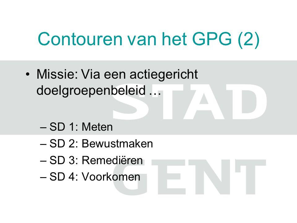 Contouren van het GPG (2) Missie: Via een actiegericht doelgroepenbeleid … –SD 1: Meten –SD 2: Bewustmaken –SD 3: Remediëren –SD 4: Voorkomen