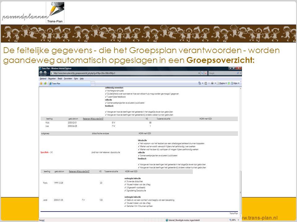 De feitelijke gegevens - die het Groepsplan verantwoorden - worden gaandeweg automatisch opgeslagen in een Groepsoverzicht: www.trans-plan.nl